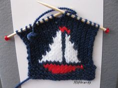 Items similar to Sail Boat // Handknitted Note or Greeting Card on Etsy Crochet Toys, Knit Crochet, Crochet Projects, Sewing Projects, Knitting Patterns, Crochet Patterns, Knitted Baby Clothes, Nautical Baby, How To Purl Knit