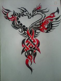 Phoenix and dragon tattoo | Like Tattoo