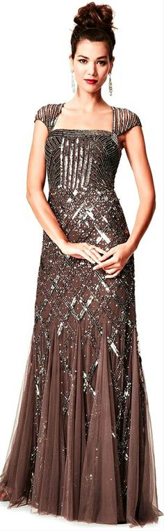 cm. Adrianna Papell - Sequined Beaded Gown
