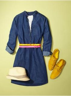 Gap Denim Shirt Dress paired with colorful belts and oxfords.  Wish I could wear this to a beach every day