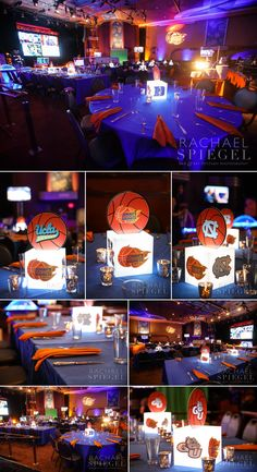 March Madness Basketball Theme | Centerpieces by Innovative Party Planners | www.innovativepartyplanners.com | Photos by Rachael Spiegel Photography  Blog – Maryland Bar and Bat Mitzvah Photographer | Decor & Details – Jonah's Bar Mitzvah – Bethesda, Md.