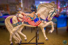 Albany, OR Carousel   Lightning will be the lead horse on the Carousel, a fitting role for this most patriotic of horses. Adopted by Duffy and Russ Tripp, eight small medallions on his harness showcase the favorite activities of the Tripp's children and grandchildren. Lightning's patriotic decorations also include a 13-star flag and a bust of George Washington on his saddle. ldm photography
