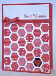 handmade Valentine ... honeycomb embossing folder ... hexagon of red print papers ... one hexagon hold the heart ... lovely design ... Stampin' Up!
