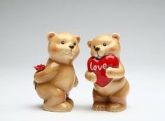 Valentines Day Heart Love Bear Salt & Pepper Shaker S/P by Appletree Designs Cosmos. $12.88. 3 1/2 inches x 1 1/2 inches. Ceramic. Valentines Day Heart Love Bear Salt & Pepper Shaker S/P
