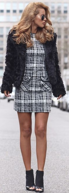 #trending #fall #outfitideas | Faux Fur Jacket  + Monochrome Check Pinny Dress