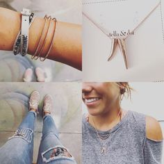 Stella & Dot   Double Pave Horn Pendant   Pave Open Bar Cuff   Sierra Bracelet   Hammered Wired Small Hoops   Rose Gold