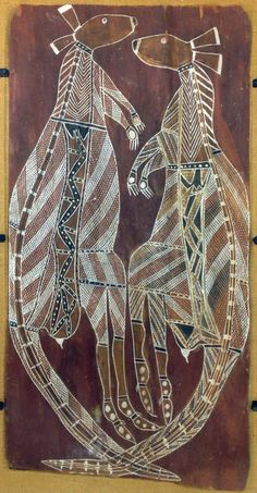 Kangaroos Aboriginal Australian; Kunwinjku (Gunwinggu) Bark Painting