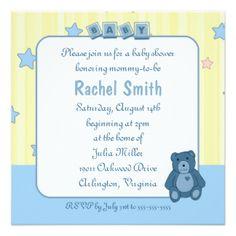 Convite azul do chá de fraldas do urso de ursinho