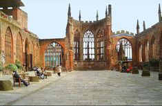 Roofless Ruins of the old Coventry Cathedral - England Coventry Cathedral, Norwich Cathedral, Michael Church, St Michael, Coventry England, Coventry United, Coventry Blitz, Medieval Stained Glass, Cathedral Church
