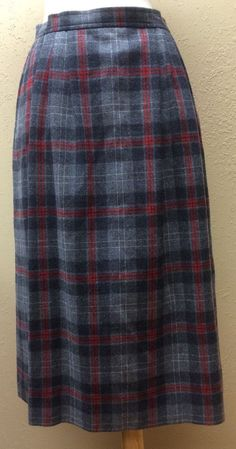 Pendleton 100 Wool Gray Red Classic Plaid Lined Skirt Calf Length Size 10 | eBay