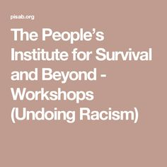 The People's Institute for Survival and Beyond - Workshops (Undoing Racism)