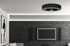 thermal Home Ceiling, Bladeless Ceiling Fan, Home, Dimmable Led Lights, Basement Remodeling, Copper Ceiling Fan, House Layouts, Family Room Furniture Layout, Bladeless Fan