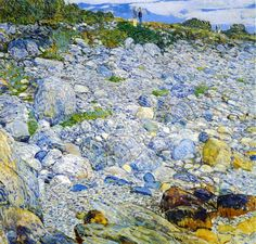 """Rocky Beach, Appledore,"" Frederick Childe Hassam, 1913, oil on canvas, 34 x 36"", American Academy of Arts and Letters."