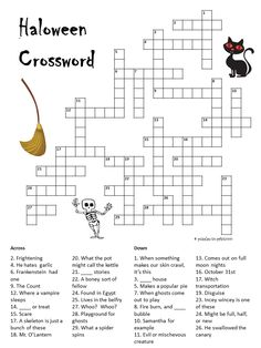 Halloween Crossword http://www.puzzles-to-print.com/halloween-puzzles/halloween-crossword.shtml A spooky little puzzle to get everyone in the mood for Halloween day.  Great for the classroom or use it as a party game.
