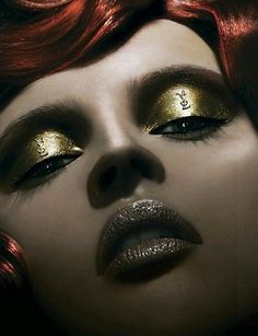 YSL Makeup ARTistry: Liquid Golden Bronze Eyes, and Blood Red Lips, makeup for YSL Beauty Campaign.