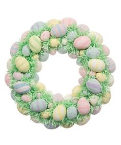 Green and Pastel Egg Wreath by Teters Floral