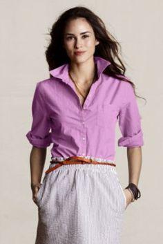 Women's Long Sleeve Garment-Dyed Poplin Shirt from Lands' End Canvas