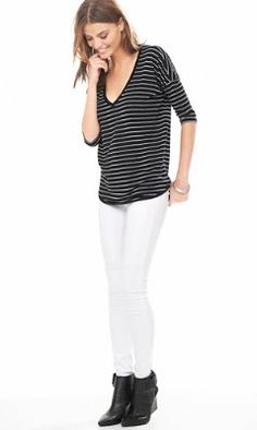striped express one eleven v-neck tunic tee from EXPRESS