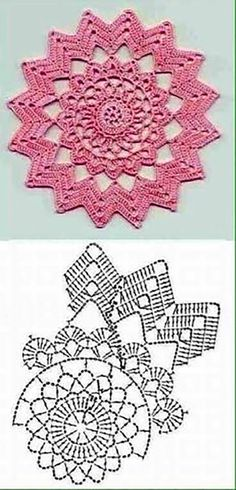 New Crochet Granny Square Chart Yarns Ideas Motif Mandala Crochet, Crochet Doily Diagram, Crochet Circles, Crochet Flower Patterns, Crochet Squares, Crochet Chart, Thread Crochet, Crochet Flowers, Crochet Granny