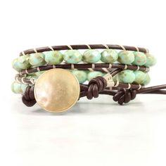 Brown Wrap Bracelet Mint Green Boho Wrap Bracelet Summer Beach Fashion Hippie Wrap Bracelet Earth Sa