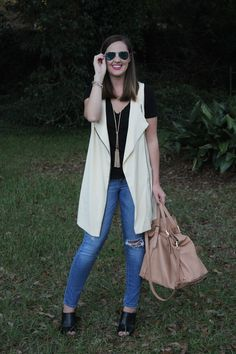 Sleeveless Blazer and distressed denim via With Style and a Little Grace