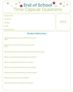 Printable End of School Time Capsule Questions