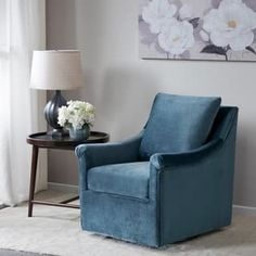Madison Park Morton Blue Swivel Chair   Overstock.com Shopping - The Best Deals on Living Room Chairs