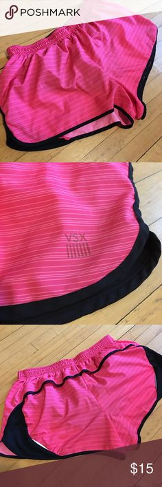 Pink Striped Victoria Secret Sexy Sport Shorts Nylon and polyester running shorts. Built in panty brief. Very lightweight, breathable and movable! Super cute faint stripes in lighter pink. In great condition! Victoria's Secret Shorts
