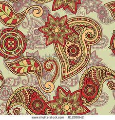 vector seamless hand drawn paisley pattern, clipping masks - stock vector