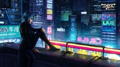 """Stand out? Blend in?"" - This shot from the introduction cutscene introduces the city as well as Dex, as she ponders her role in the frenzied world that surrounds her. Dex - 2D cyberpunk indie RPG game - www.dex-rpg.com"