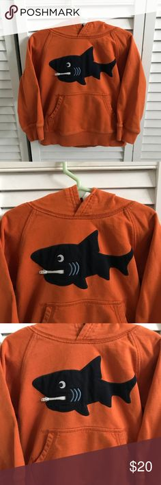 🆕KIDS pullover sweatshirt, EUC. Cute orange shark sweatshirt from Gymboree. Pullover, hood, front pockets. Lightly used but in excellent condition. Size 2T-3T. Smoke free home. Gymboree Shirts & Tops Sweatshirts & Hoodies