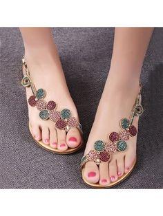 Breathtaking Flower Rhinestone Flat Sandal Flat Sandals from fashionmia.com