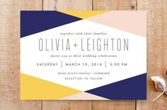 Navy, yellow, and pink geometric wedding invitation.