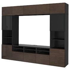 BESTÅ TV storage combination/glass doors, walnut effect light gray, Selsviken high gloss/white clear glass, 118 Learn more! Tv Storage, Storage Spaces, Besta Tv Bank, Tv Bench, Frame Shelf, Plastic Foil, Ikea Family, Living Room Tv, Tv Consoles