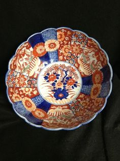 "Japanese Antique Imari Blue Orange White Floral Handpainted Large Bowl 12 1/4"" in Antiques, Asian Antiques, Japan, Bowls   eBay"