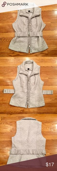 NWOT Vest by WHBM NWOT - beautiful lightweight gray vest by White House Black Market. Features silver accents, embroidered rosette detail throughout, double zipper outlined by ruching, removable matching belt. No evident damage. Reasonable offers accepted! Bundle and save! White House Black Market Jackets & Coats Vests