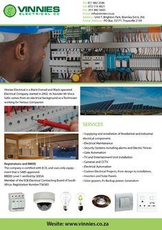 Vinnies Electrical cc :) Johannesburg  Tel: 011 882 2546 Cel: 072 116 4821 Fax: 011 882 5643 Email: info@vinnies.co.za Address: Unit 7, Brighton Park Bramley Ext 6, Johannesburg, South Africa www.vinnies.co.za Electric Company, Brighton, South Africa, Park, Stamps, Parks