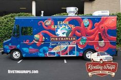 Riveting Wraps Fish Brewing Food Truck Wrap.jpg #foodtrucks #foodtruckwraps #vehiclewrapsSeattle visit RivetingWraps.com
