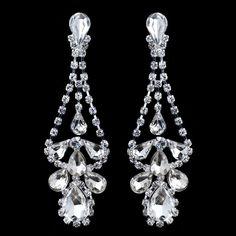 Silver Clear Rhinestone Dangle Chandelier Earrings Prom Bridal Formal Holiday   #DropDangle