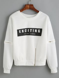 White Letter Print Zip Detail Sweatshirt
