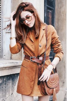 blazer with belt and over knee boots. monochromatic look in camel.