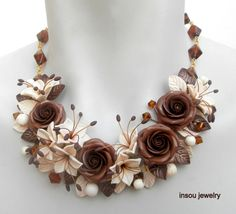 Brown jewelry - Ivory necklace - Flower necklace - Rose jewelry - Lily necklace