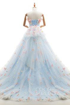 優美なドレス Aライン ハートネック 取り外しのチャペルトレーン チュール レース 淡いブルー 編み上げ カラードレス アップリケ ピンク系の小花 ld4115