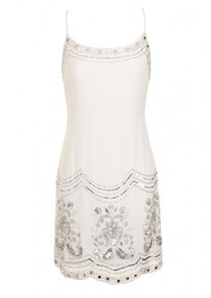 Frock and Frill White Embellished Cami Dress