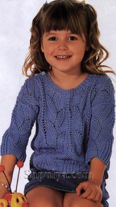 Голубой ажурный пуловер для девочки, вязаный спицами