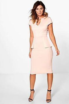 Albany Cap Sleeve Peplum Formal Midi Dress