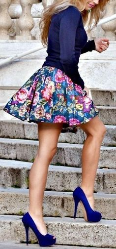 Floral Skirt (maybe a little longer), blue sweater and high heels