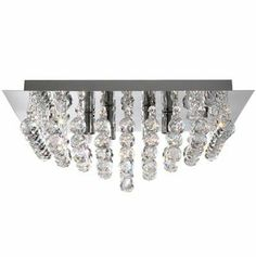 Marco Tielle LANNA Crystal and Chrome Square 4 Light Ceiling Light Chandelier