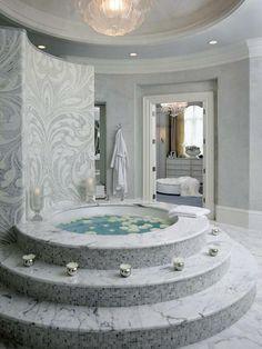 Um banho relaxante em um ambiente bem clean. #banho #banheira #imóvel #decoração