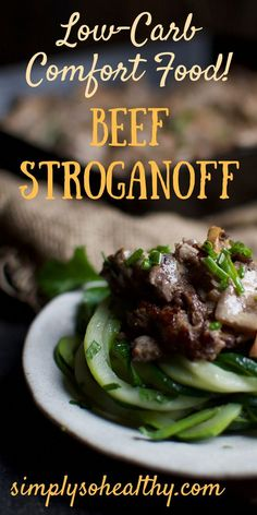 This Low-Carb Beef Stroganoff recipe has tender beef in a creamy sauce with a touch of mustard. Serve it with zoodles or mashed cauliflower for a delightful dinner that fits into low-carb, Atkins, ketogenic, diabetic, LCHF, and Banting diets.